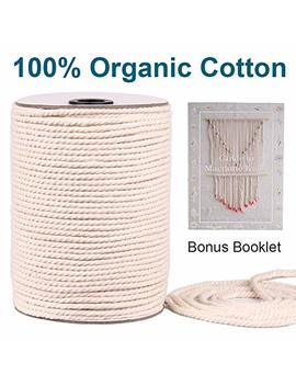 Macrame Cord 4mm X 150 Yards | 100 Percents Natual Macrame Cotton Cord | 3 Strand Twisted Cotton Rope For Wall Hanging, Plant Hangers, Crafts, Knitting, Decorative Projects | Soft Undyed Macrame Rope by Xk Dous