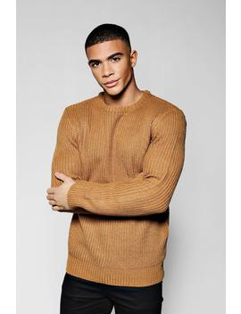 Crew Neck Fisherman Knit Jumper by Boohoo
