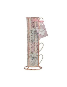 Debenhams   4 Pack Multicoloured Marble Stacking Mugs by Debenhams