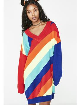 Kandy Bright Rainbow Sweater by Hot Delicious