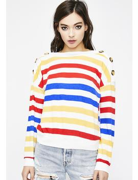 Fire Don't Push My Buttons Stripe Sweater by Edgemine