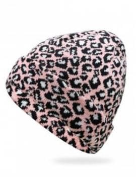 Stylish Leopard Flanging Knit Cap   Light Pink by Zaful