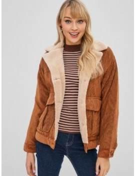 Button Up Plain Sheepskin Coat   Brown S by Zaful