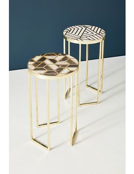 Optical Inlay Side Table by Anthropologie