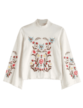 Bell Sleeve Embroidered Sweater   White by Zaful
