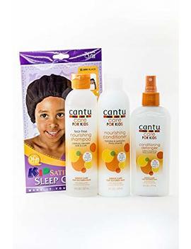 Cantu Care For Kids Tear Free Shampoo, Conditioner & Detangler Trio Bundle + Free Kids Satin Sleep Cap by Cantu