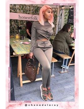 Hayley Khaki Twist Front Loungewear Set by Misspap