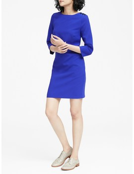 Button Shoulder Shift Dress by Banana Repbulic