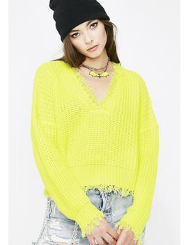Lemon Brighter Days Distressed Sweater by Day Night