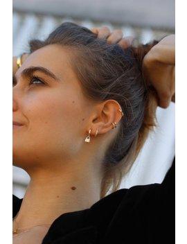 Huggie Padlock Earrings, Tiny Hoop Earrings, Silver Hoop Lock Earrings, Small Pendant Lock Earrings, Gold Lock Earrings by Etsy