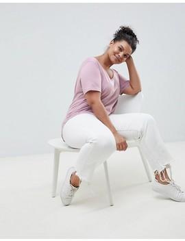 Asos Design Curve   T Shirt à Encolure Dégagée Avec Ourlet Arrondi   Rose Vison by Asos Design