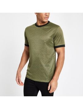Green Jacquard Tipped Crew Neck T Shirt by River Island