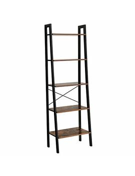 Songmics Vintage Ladder Shelf, 5 Tier Bookcase, Plant Stand And Storage Rack Wood Look Accent Furniture With Metal Frame For Home Office Ulls45 X by Songmics