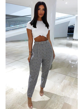 Tartan High Waist Tapered Cigarette Trousers   Maddy by Rebellious Fashion