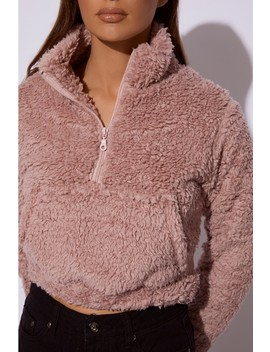 Cieta Dusty Pink Cropped Borg Pullover Jacket by In The Style