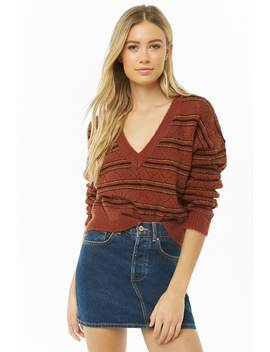 Striped Pointelle V Neck Sweater by Forever 21