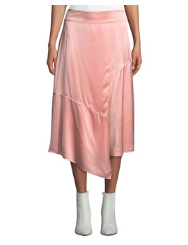 Draped Asymmetric Satin Midi Skirt by Derek Lam 10 Crosby