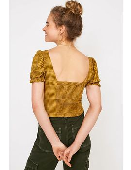 Uo Cassia Orange Check Puff Sleeve Top by Urban Outfitters