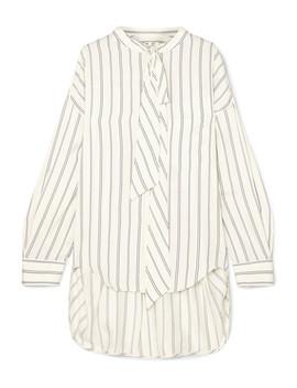 Pussy Bow Printed Striped Silk Piqué Shirt by Balenciaga