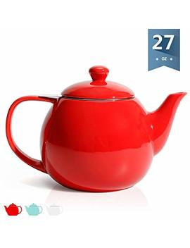 Sweese 2309 Teapot, Porcelain Tea Pot With Stainless Steel Infuser, Blooming & Loose Leaf Teapot   27 Ounce, Red by Sweese
