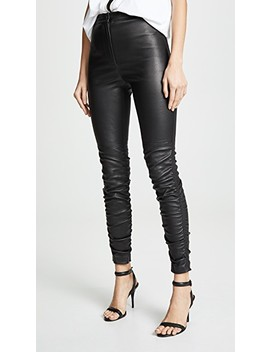 Stretch Leather Pants With Ruching Detail by Alexanderwang.T