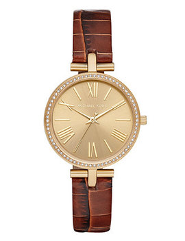 Women's Maci Brown Leather Strap Watch 34mm, Created For Macy's by Michael Kors