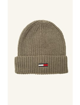 Tommy Jeans Basic Rib Beanie Light Grey Heather by Universal Store