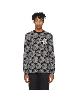Black & White Long Sleeve All Over Mc Q Cube T Shirt by Mcq Alexander Mcqueen