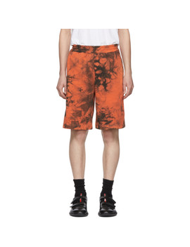 Orange & Grey Terry Shorts by Helmut Lang