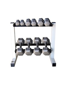 Cap Barbell Solid Hex Dumbbell Set With Rack (150 Pound) by Cap Barbell