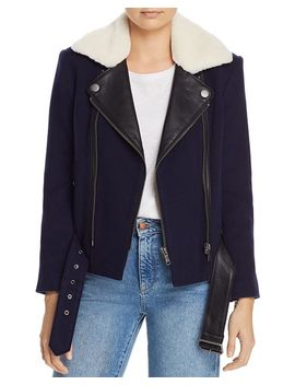 Fayana Leather Trimmed Moto Jacket by Joie