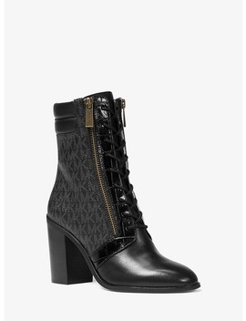 Rosario Logo And Leather Ankle Boot by Michael Michael Kors