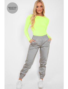 Silver Elasticated Jogger Style Trousers   Freddie by Rebellious Fashion
