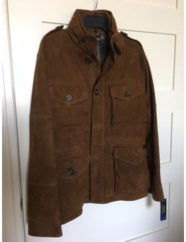 $1495 Polo Ralph Lauren Hunter Brown Suede Combat Jacket   Men's Medium by Polo Ralph Lauren