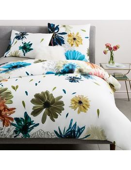 400 Thread Count Organic Sateen Collage Floral Duvet Cover + Shams   Stone White by West Elm