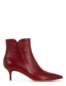 Levy 55 Burgundy Leather Ankle Boots by Gianvito Rossi