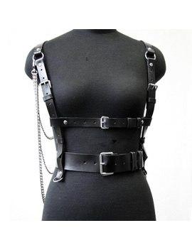 New Faux Leather Harness Punk Gothic Body Bondage Cage Tassel Chain Wrapped Waist Straps Women Men Belt Suspenders Accessories by Baoxiu