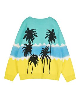 Romantic Holiday Wind Rainbow Sea Coconut Palm Design Long Sleeved Round Collar Color Sweater Sets Female T11 by Ali Express