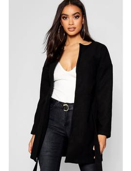 Collarless Belted Wool Look Coat by Boohoo