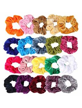 20 Pack Hair Scrunchies Velvet Elastics Hair Ties Scrunchy Bands Ties Ropes Scrunchie For Women Or Girls Hair Accessories, 20 Pcs Bright Colorful (Come With A... by Cutefa