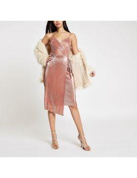 Pink Metallic Plisse Tie Waist Midi Dress by River Island