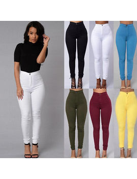 Women Pencil Stretch Casual Look Denim Skinny Jeans Pants High Waist Trousers by Hirigin