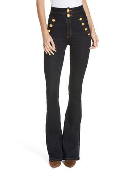 Dalida Button Detail Skinny Flare Jeans by Veronica Beard