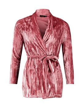 Pleated Belted Velvet Blazer by Boohoo