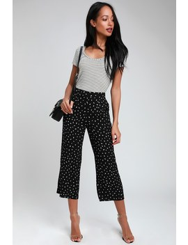 Count On Cute Black And White Print Cropped Pants by Lulus