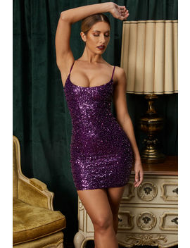 Disco Fever Crystal Pearl Sequin Embellished Mini Dress In Purple by Oh Polly