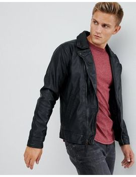 Hollister Faux Leather Biker Jacket In Black by Hollister