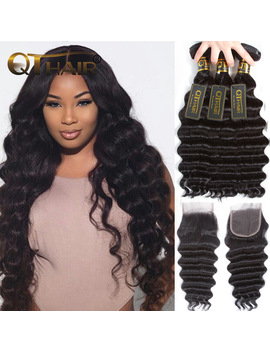 Loose Deep Wave Bundles With Closure Human Hair Bundles With Closure Brazilian Virgin Hair Weave Bundles With Closure Qt Hair by Q Thair