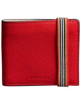 Heritage Stripe Leather International Bifold Wallet by Burberry