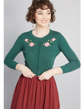 Blossoming Embroidery Cropped Cardigan by Collectif